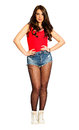 Beautiful Young Woman Straight Hair, Jeans Shorts And Red Tank Top. PNG Available Stock Images - 68188084