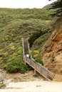 Wooden Stairs Leading To Half Moon Bay, California Stock Image - 68199991