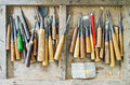 Used Full Set Of Carpenter Tools For Wood Handcraft Work In The Old Wooden Box Royalty Free Stock Photo - 68204075