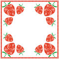 Vector Card With Berries. Empty Square Form With Ornamental Strawberries And Border With Dots. Decorative Frame. Series Of Cards, Stock Images - 68221244