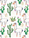 Watercolor Elements For Your Design With Cactus Plants,flowers And Lama. Royalty Free Stock Photo - 68225645
