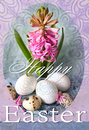 Happy Easter Holiday Card With Pink Hyacinth And Easter Eggs. Colorful Easter Background Royalty Free Stock Image - 68226766