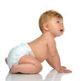 Six Month Infant Child Baby Toddler Sitting In Diaper Looking At Stock Photos - 68232883