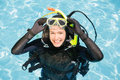 Young Woman On Scuba Training Royalty Free Stock Photography - 68235897