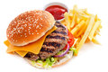 Cheeseburger With French Fries Royalty Free Stock Photography - 68241427