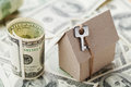 Model Cardboard Home, Key And Dollar Money. House Building, Insurance, Housewarming, Loan, Real Estate, Cost Of Housing, Buying Stock Image - 68244951