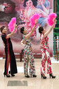 Chinese Cheongsam Fan Dance. Royalty Free Stock Images - 68247619
