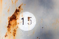 Number 15 On Old Metal Panel Stock Photo - 68248090