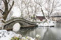 Snow Covered Old Bridge And Pavilion Royalty Free Stock Image - 68250016