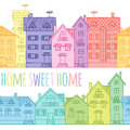 Seamless Pattern Of Coloured Houses Drawn By Hand. Stock Photography - 68257772