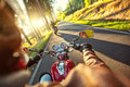 Motorcyclist Riding Motorbike In Sunny Morning Stock Image - 68263611