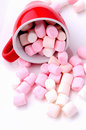 Pink And White Mini Marshmallows Stock Image - 68263811