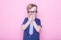 Portrait Of A Little Smiling Boy In A Funny Glasses And Tie. School. Preschool. Fashion. Studio Portrait Over Pink Background Royalty Free Stock Image - 68267206