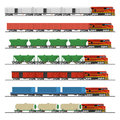 Essential Trains. Collection Of Freight Railway Cars. Royalty Free Stock Photography - 68271757