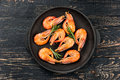 Fried Shrimp In The Pan Stock Photo - 68274520