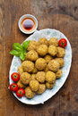 Healthy Italian Appetizer With Risotto Balls Arancini , Green Ol Stock Photos - 68286183