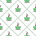 Seamless Vector Pattern With Closeup Green Coffee Cups With Dots And Grains On The White Background. Stock Images - 68304944