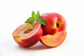 Nectarine With Mint Leaves Stock Photos - 68316583