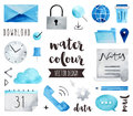 Business Communication Watercolor Vector Objects Stock Images - 68317774