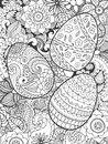 Easter Eggs And Flowers Coloring Page Royalty Free Stock Images - 68317829