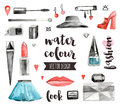 Makeup Accessories Watercolor Vector Objects Stock Photography - 68317912