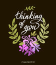 Thinking Of You. Vector Brush Calligraphy. Handwritten Ink Lettering. Hand Drawn Design. Royalty Free Stock Images - 68359269