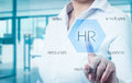 Businessman Points To Icon-HR, Recruitment And Chosen Concept Royalty Free Stock Photo - 68363155