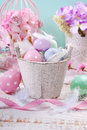 Old Wooden Bucket With Easter Eggs And Feathers Royalty Free Stock Photo - 68373055