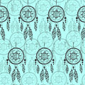 Hand-drawn With Ink Dreamcatcher With Feathers, Arrows. Seamless Pattern. Stock Photography - 68380712