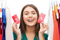 Happy Woman With Sale Tags On Clothes At Wardrobe Royalty Free Stock Photography - 68383737