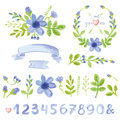 Watercolor Blue Daisy Floral Decor Set With Numbers Royalty Free Stock Images - 68402909