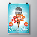 Vector Ice Cream And Microphone Flyer Illustration With Design Elements On Sky Background. Royalty Free Stock Photos - 68415598