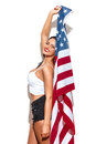 Sexy Brunette Woman Holding USA Flag Royalty Free Stock Photos - 68444058