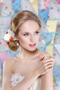 Beautiful Young Bride With Wedding Makeup And Hairstyle In Bedroom Royalty Free Stock Photos - 68444458