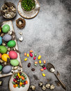 Easter Decoration With Eggs And Sweets. Dark Toned Royalty Free Stock Photography - 68459887