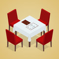 Table With Chairs For Cafes. Modern Table And Chairs On White Background. Flat 3d Isometric Vector Illustration. Royalty Free Stock Image - 68479946