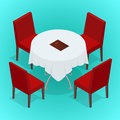 Table With Chairs For Cafes. Modern Table And Chairs On White Background. Flat 3d Isometric Vector Illustration. Stock Photography - 68479962