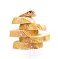 Bread Cut Pieces Arranged Vertically On White Background. Royalty Free Stock Image - 68483546