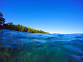 Clean Blue Sea Water - Look Through Under Water Stock Photo - 68483980