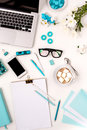 Still Life Of Fashion Woman,  Blue Objects On White Stock Photography - 68485182