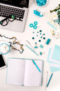 Still Life Of Fashion Woman,  Blue Objects On White Stock Photos - 68485783