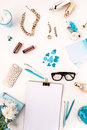 Still Life Of Fashion Woman,  Blue Objects On White Royalty Free Stock Image - 68485836