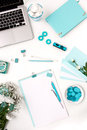 Still Life Of Fashion Woman,  Blue Objects On White Stock Photos - 68485903