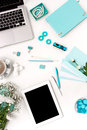 Still Life Of Fashion Woman,  Blue Objects On White Royalty Free Stock Images - 68485939
