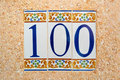 100 (one Hundred) Tile Numbered Stock Images - 68487774