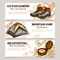 Tourism Camping Hiking Banners Stock Image - 68489051