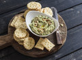 Healthy Vegetarian Broccoli And Pine Nuts Hummus And Homemade Cheese Biscuits On A Wooden Rustic Board. Royalty Free Stock Photo - 68508875