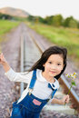 Girl Walk On The Railway Royalty Free Stock Images - 68532609