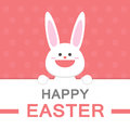 Happy Easter Day Smile Bunny Cartoon Vector Greeting Card Template Pink Pattern Royalty Free Stock Image - 68533996