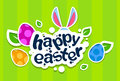 Rabbit Ears Bunny Painted Eggs Happy Easter Holiday Banner Colorful Greeting Card Stock Photography - 68549812